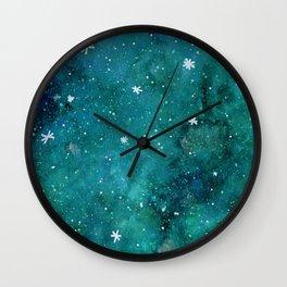 Watercolor galaxy - teal Wall Clock