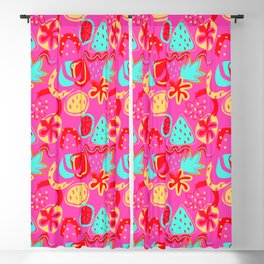 Brushstrokes Abstract - brights on hot pink Blackout Curtain