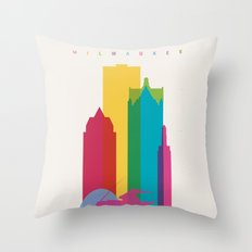 Shapes of Milwaukee. Accurate to scale Throw Pillow