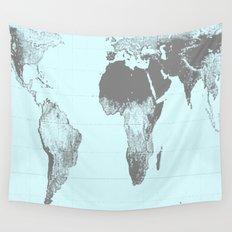 World Map : Gall Peters Aqua Wall Tapestry