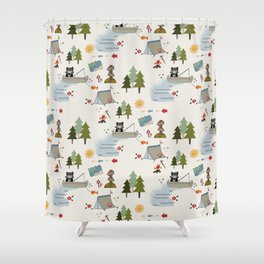 Camping Kids pattern Shower Curtain
