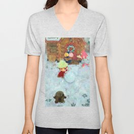 Animal Crossing: New Horizons Winter Snowman Rolling Impressionist Painting Unisex V-Neck