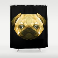 pug Shower Curtains featuring Pug by Taranta Babu