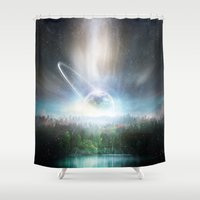 cup Shower Curtains featuring Death cup by HappyMelvin