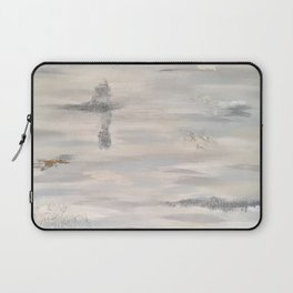 Neutral Driftwood Light Gray Abstract Beachy Painting Laptop Sleeve