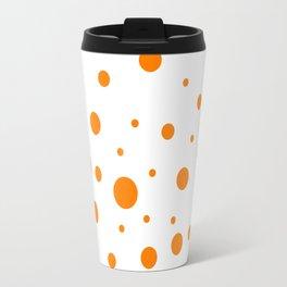 Mixed Polka Dots - Orange on White Travel Mug