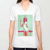 nurse V-neck T-shirts featuring Sexy Nurse! by nachodraws