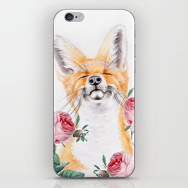 Happy Fox And Pink Roses iPhone Skin