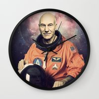 picard Wall Clocks featuring Captain Picard - Astronaut in Space by Nicholas Redfunkovich