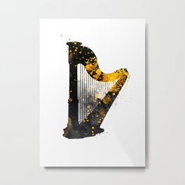 Harp music art gold and black #harp #music Metal Print