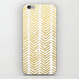 Brush painted chevron in gold iPhone Skin