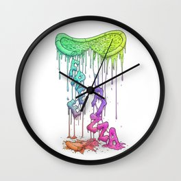 Sloppy Pizza Pie - FREE PIZZA [neon] Wall Clock