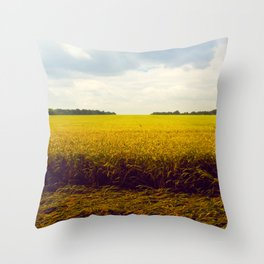 Prairie Landscape Bright Yellow Wheat Field Throw Pillow