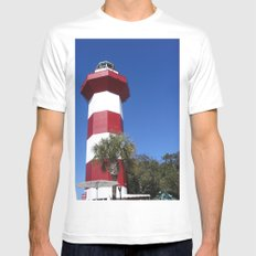 Habour Town Lighthouse Mens Fitted Tee MEDIUM White