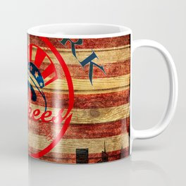 Yankees poster with vintage US map and New York city skyline in background so3 Coffee Mug