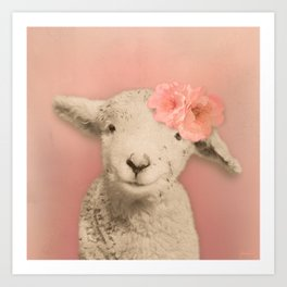 Flower Sheep Girl Portrait, Dusty Flamingo Pink Background Art Print