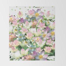 Lotus bloom Throw Blanket