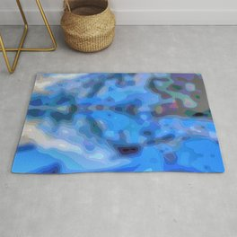 Reflections in blue and periwinkle Rug
