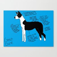 great dane Canvas Prints featuring Great Dane by Lindsay Beth