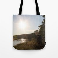 camping Tote Bags featuring Camping by RMK Creative