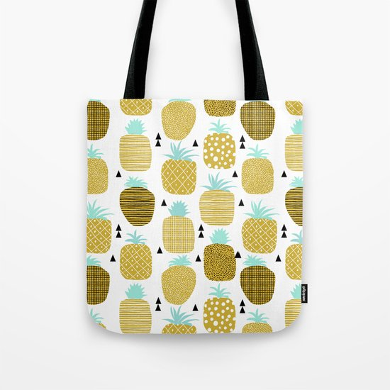 Pineapples triangles black and white minimal pattern tropical fruits print Tote Bag