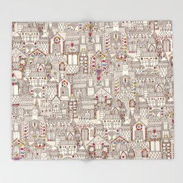 gingerbread town Throw Blanket