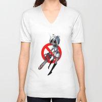 nurse V-neck T-shirts featuring Nurse by M-chi