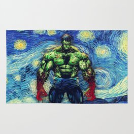 Angry Man in starry Night Rug
