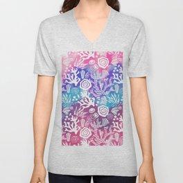 Nautical pink teal violet watercolor coral floral pattern Unisex V-Neck
