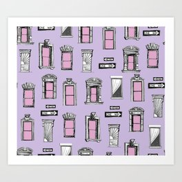 NYC Window Pattern Purple and Pink street signs Art Print