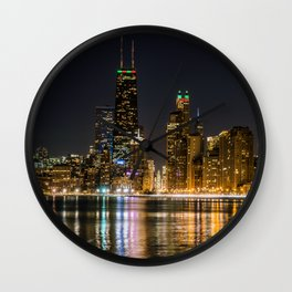 Chicago North Shore Skyline Night Wall Clock