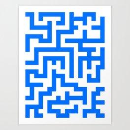 White and Brandeis Blue Labyrinth Art Print