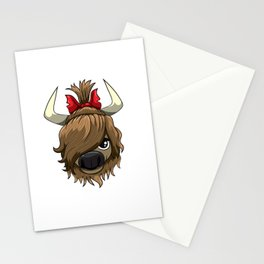 Wild Hair Don't Care Highland Cow Scottish Cattle Stationery Cards