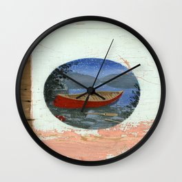 red canoe Wall Clock