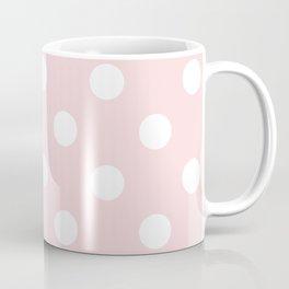 Polka Dots - White on Light Pink Coffee Mug