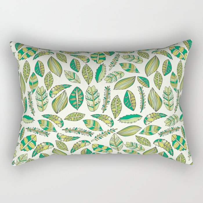 Tropical Jungle Leaves Rectangular Pillow