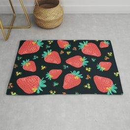 Strawberries | Black Rug