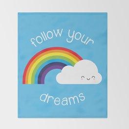 Follow Your Dreams Kawaii Rainbow Throw Blanket