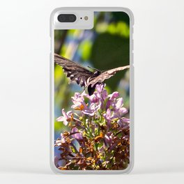 Butterfly on Lilacs Clear iPhone Case