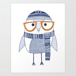 Hipster owl - orange glasses Art Print