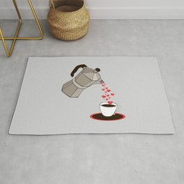 Kitchen Living Room Interior Wall Home Decor with Cuban Coffee Maker pouring Hearts Rug
