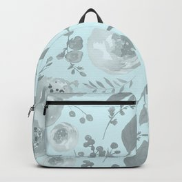 light blue and gray floral watercolor print Backpack