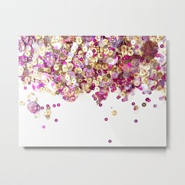 Pink and Gold Sequins Celebration! Metal Print
