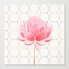 Lotus Blossom - Blush Pink and Metallic Gold Canvas Print