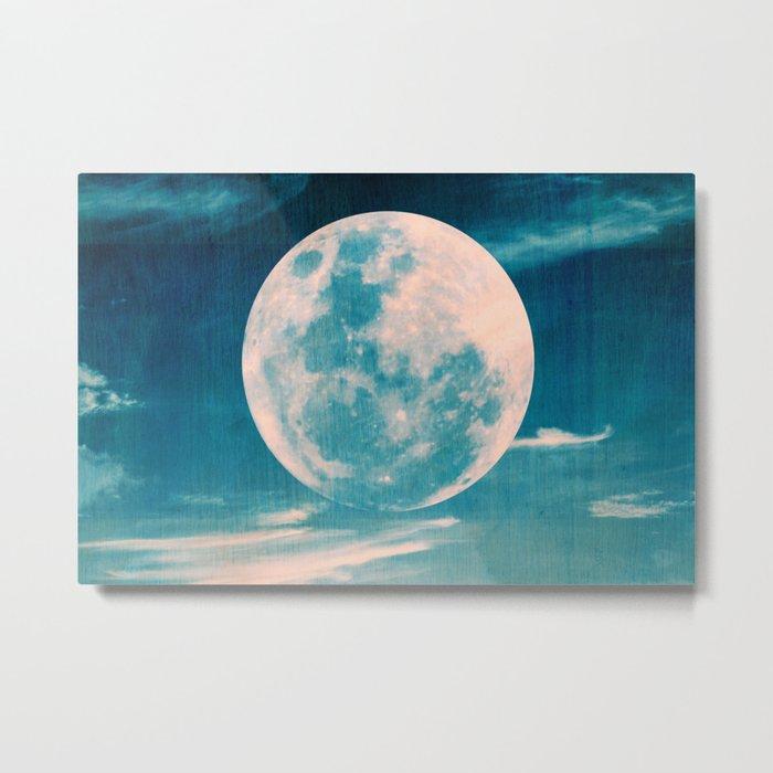 Full moon - Blue Metal Print