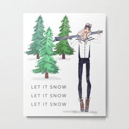 Fashion Illustration, Rustic home decor, Wall Art, Ski Lodge Decor, Ski Poster, Art Print Metal Print