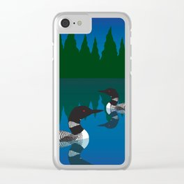 Loons in a pond Clear iPhone Case