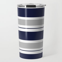 Navy Blue and Grey Stripe Travel Mug