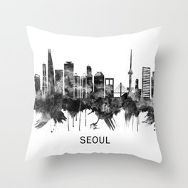 Seoul South Korea Skyline BW Throw Pillow