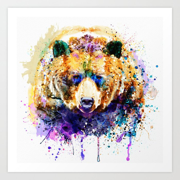 Colorful Grizzly Bear Art Print By Marianvoicu